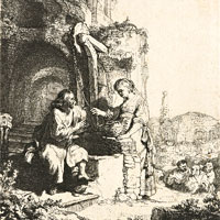 Rembrandt Harmenszoon van Rijn, Christ and the Woman of Samaria among Ruins (thumbnail)
