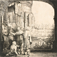 Rembrandt Harmenszoon van Rijn, Peter and John Healing the Cripple at the Gate of the Temple (thumbnail)