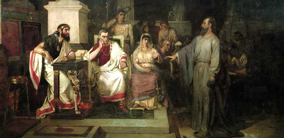 The Apostle Paul Explains the Tenets of Faith (in the Presence of King Agrippa his sister Berenice and the Proconsul Festus), Vasily Surikov